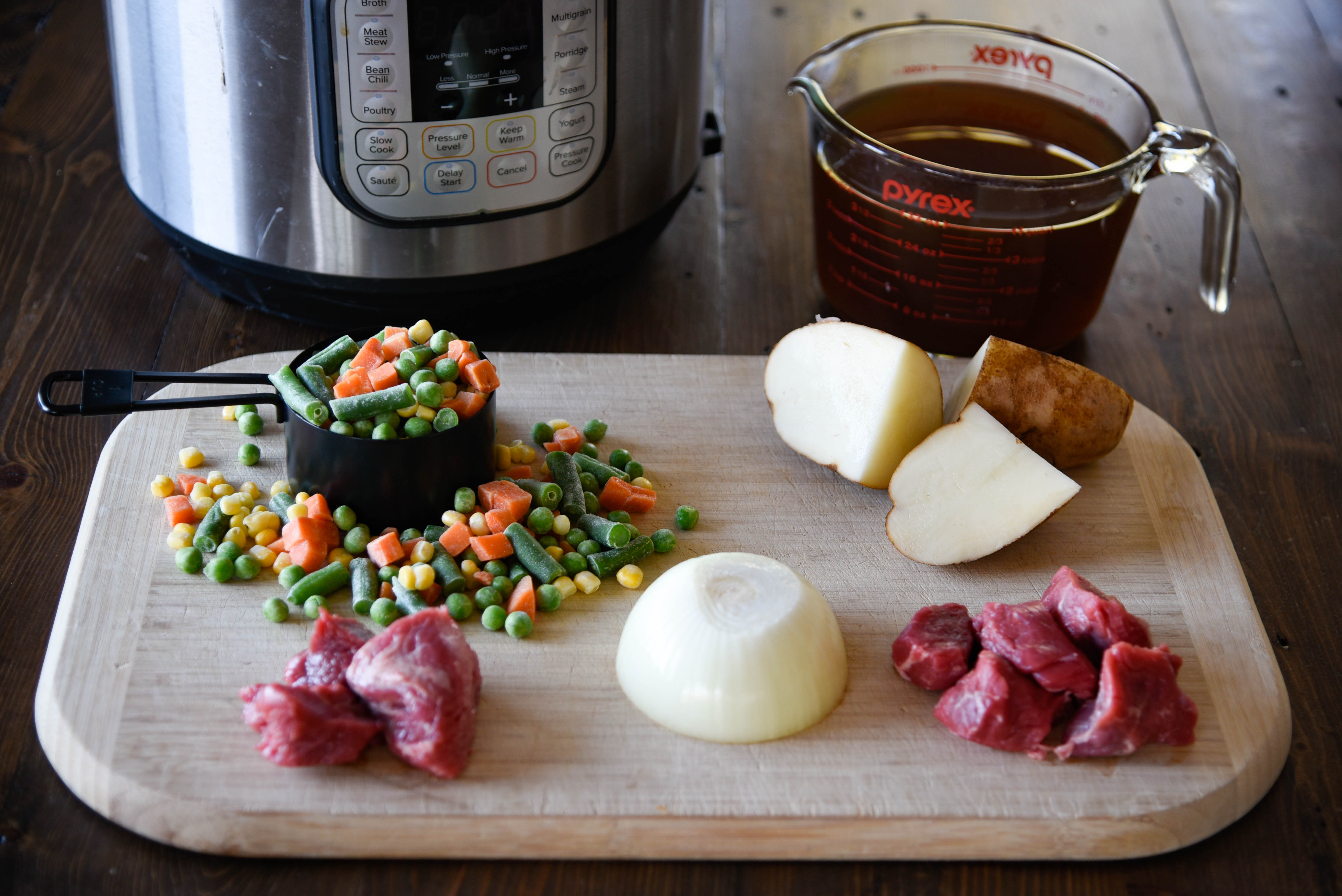 An array of ingredients for soup