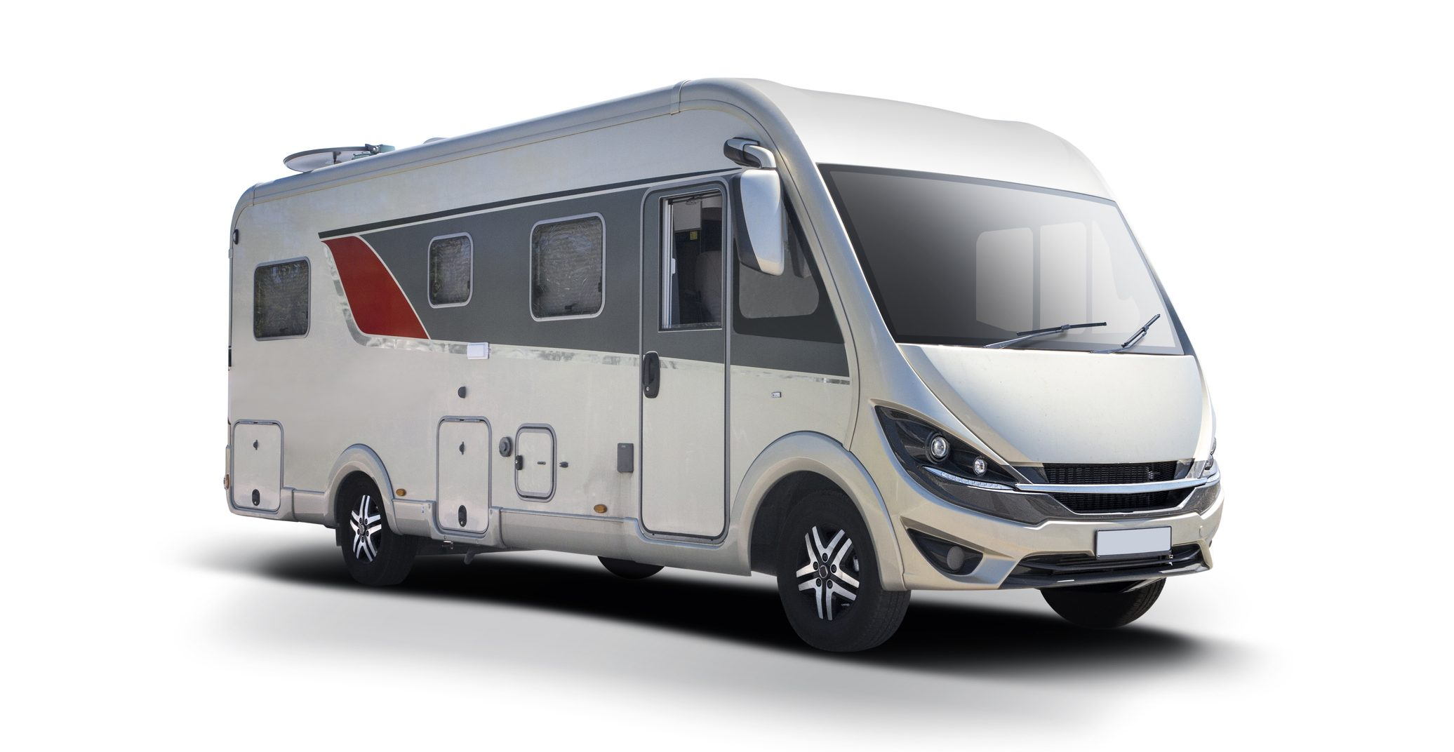 Class A motorhome on white background