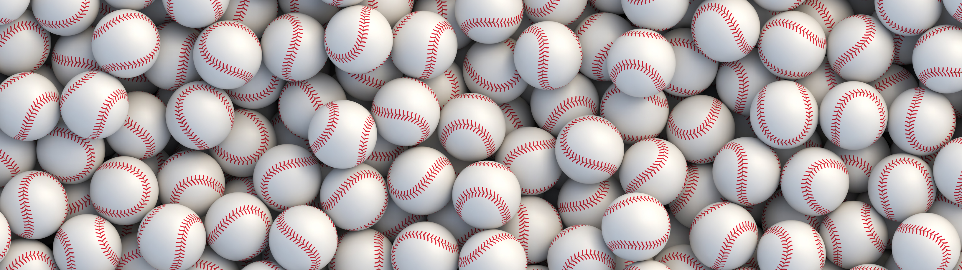 Baseball balls background. Many white baseball balls with red stitching lying in a pile. Realistic vector background