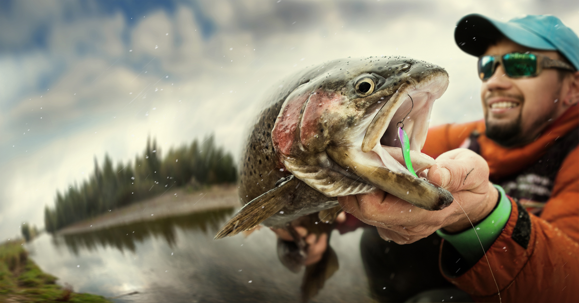 Man Fishing for trout