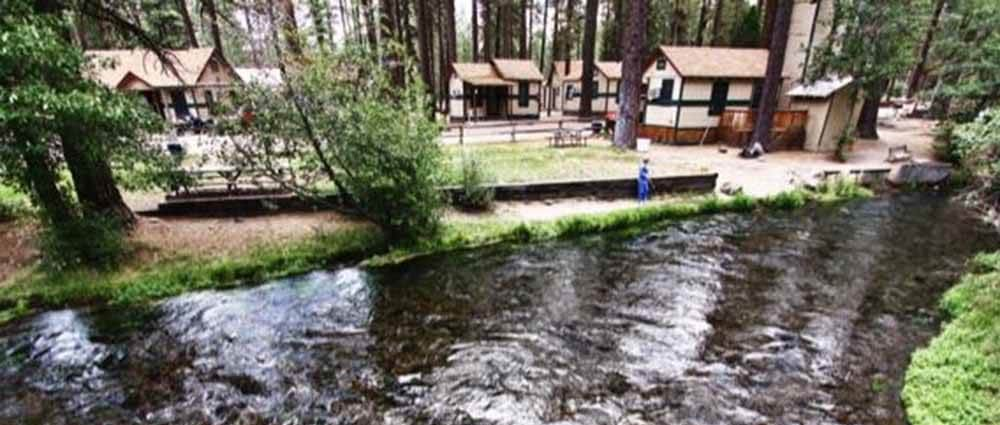 RV park on the banks of a creek.