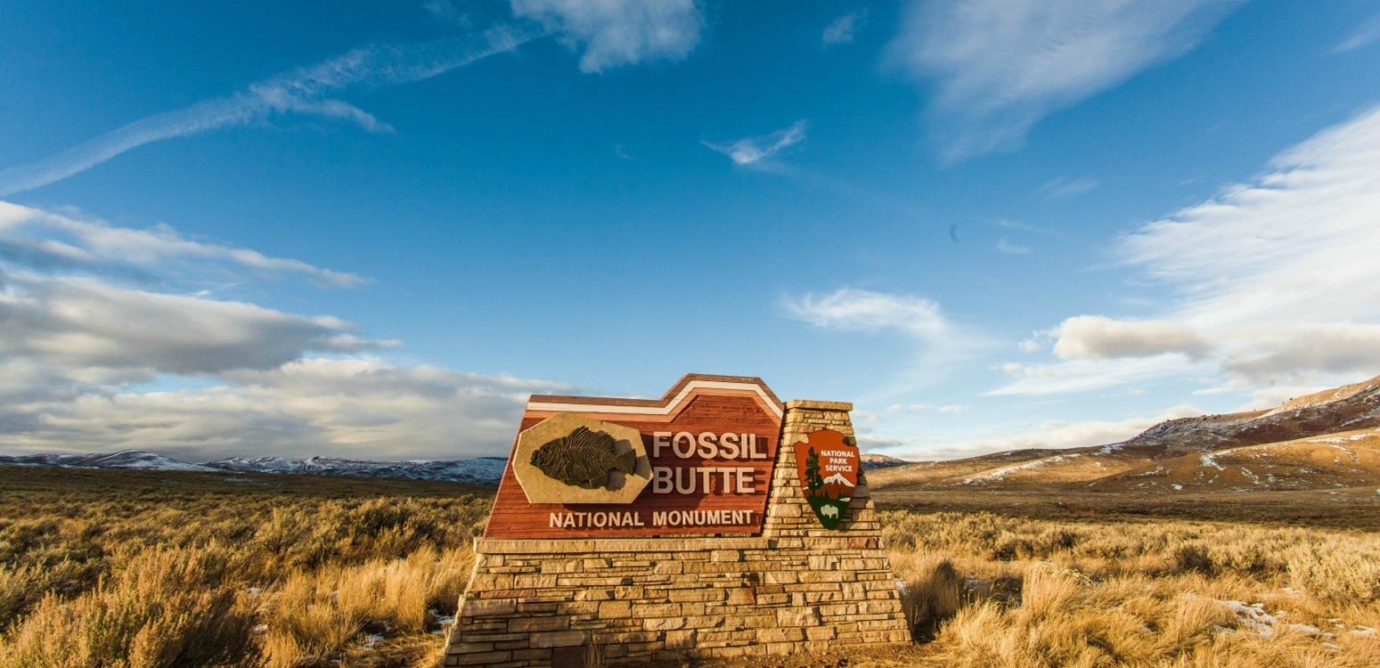 """A sign against a blue sky proclaiming, """"Fossil Butte."""""""