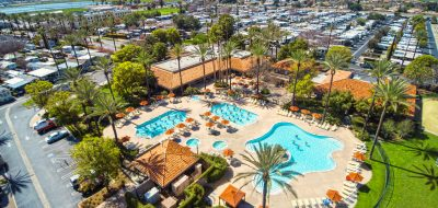 Aerial view of Golden Village Palms RV Resort