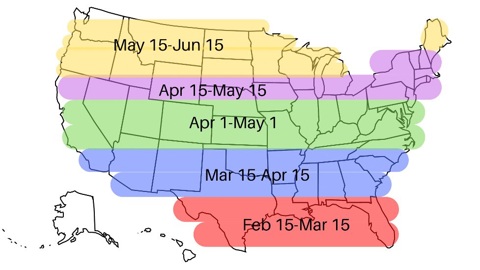 Map of U.S. showing different dates by lattitude