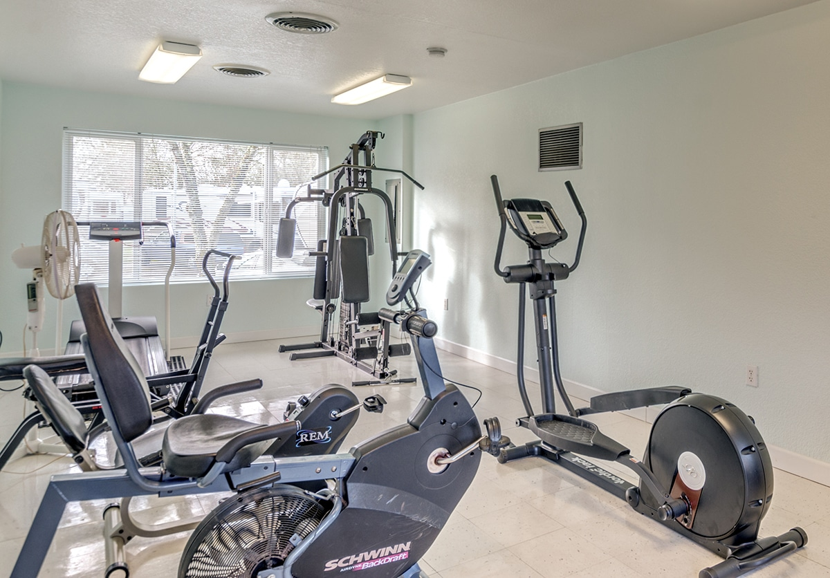 Fitness machines arrayed in a bright, well-lit room.