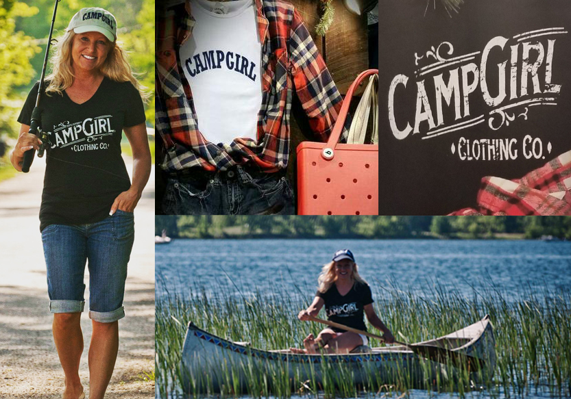 """A collage of photos showing outdoorsy people with the """"Camp Girl"""" logo"""