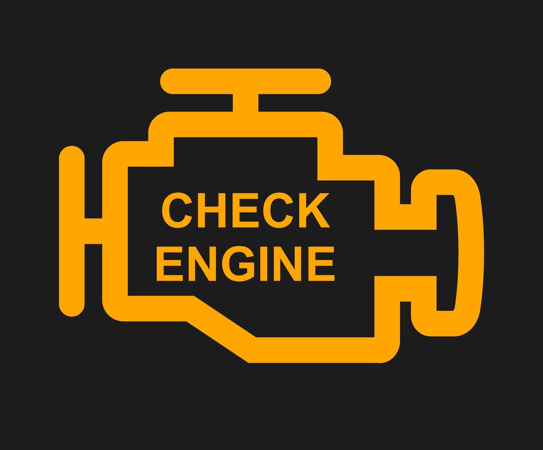 Yellow and black check engine light logo