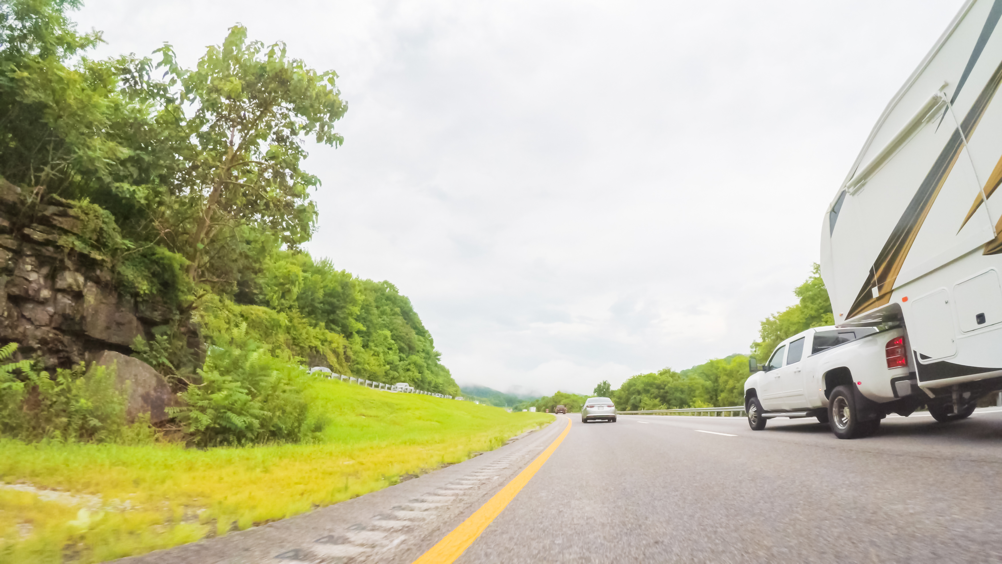 An RV driving on a Tennessee highway.