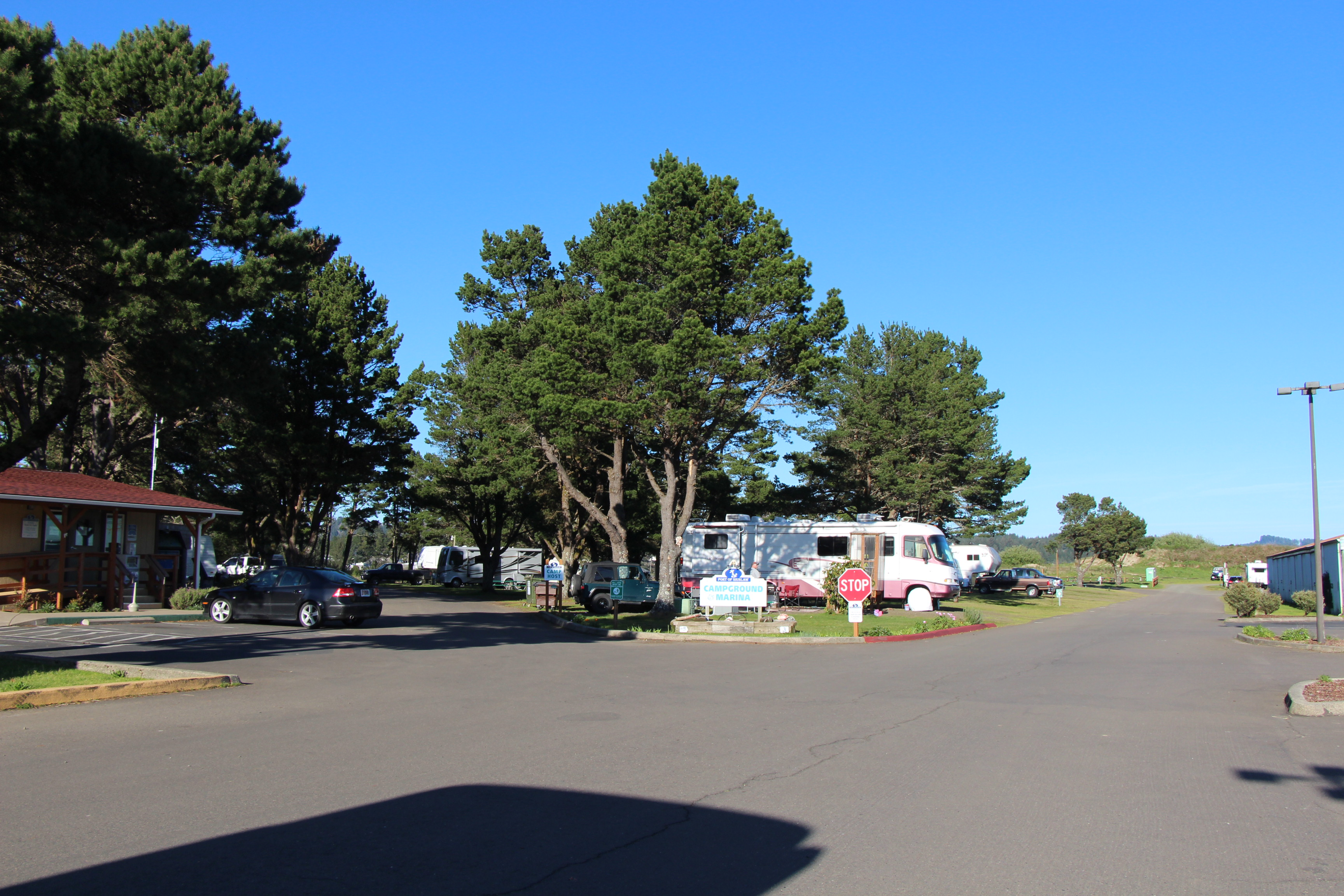 RV Park road lined with RVs.