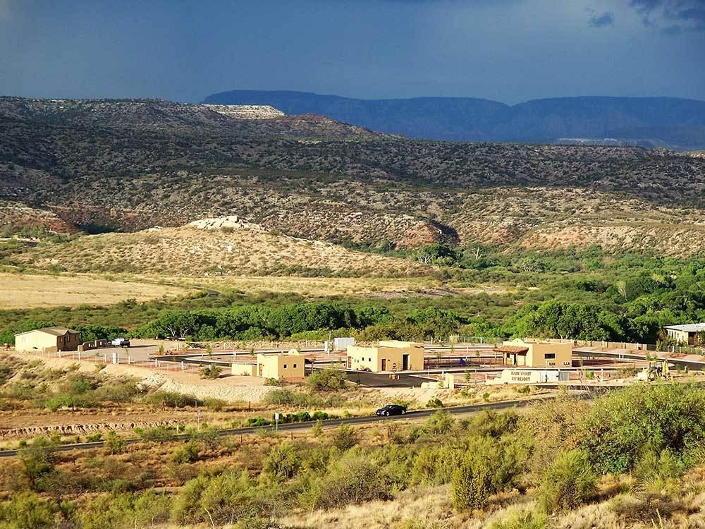 Rain Spirit RV Resort —Panoramic image of RV resort in a desert canyon