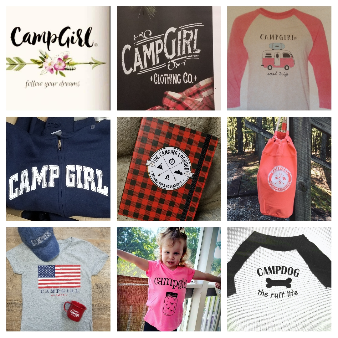 """An array of """"Camp Girl"""" shirts and hats for all ages."""
