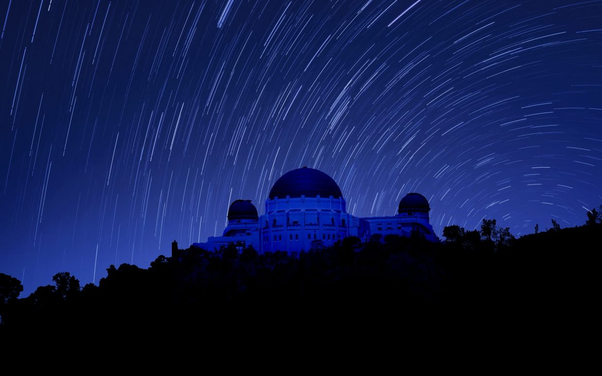 Night shot with stars at Griffith Observatory.