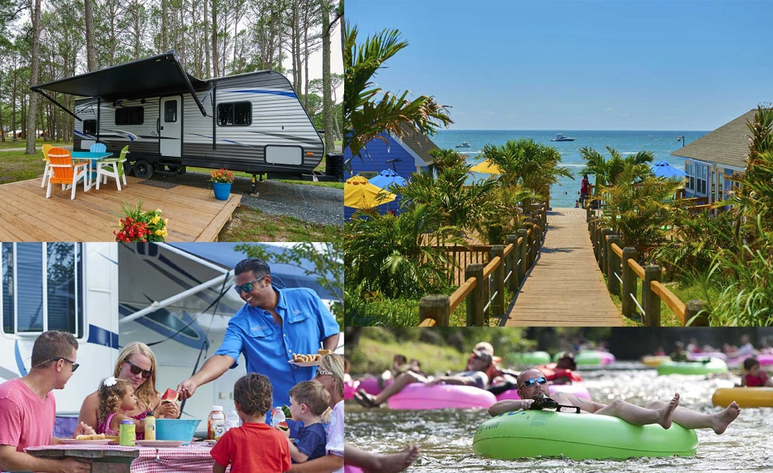 Collage of camping opportunities on the East Coast.