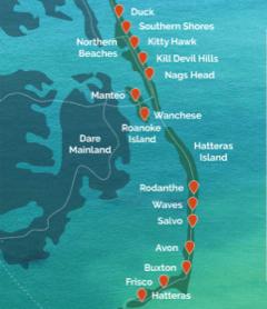 Coastal map of the Outer Banks North Carolina
