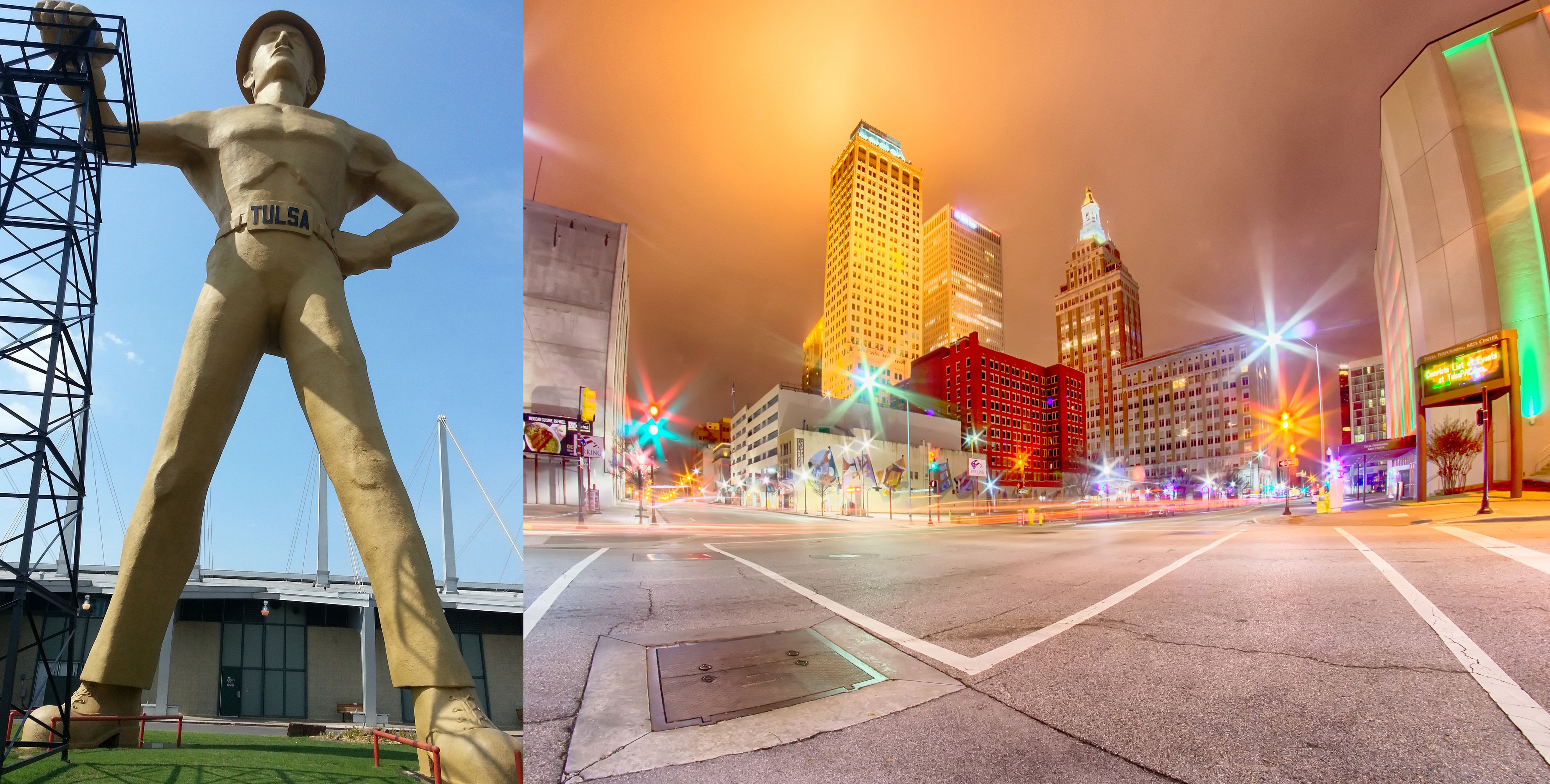 A giant statute of an oil driller next to a picture of downtown Tulsa.