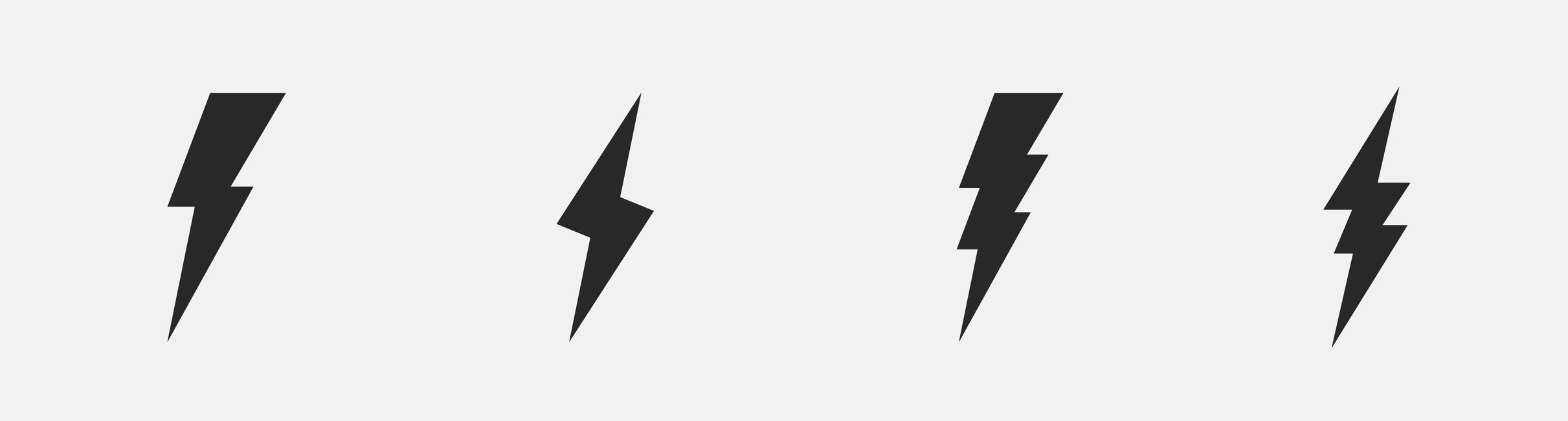 Symbols of electricity in the form of four lightning bolts.