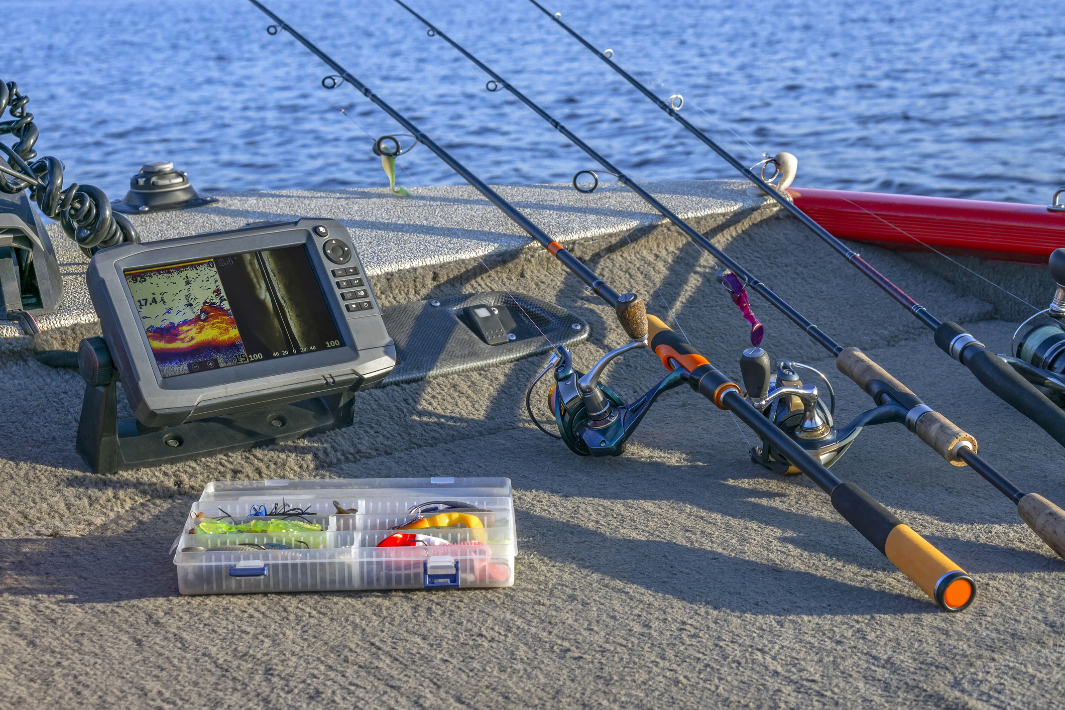 Array of fishing gear, including a high-tech fish finder.