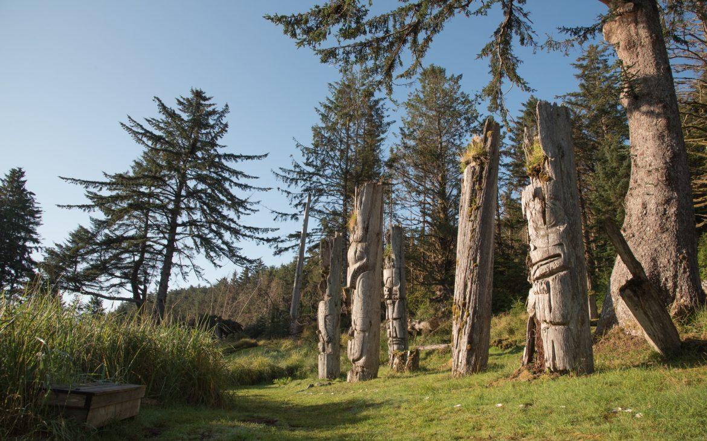 Totem poles in the British Columbia island of Haida Gwaii.