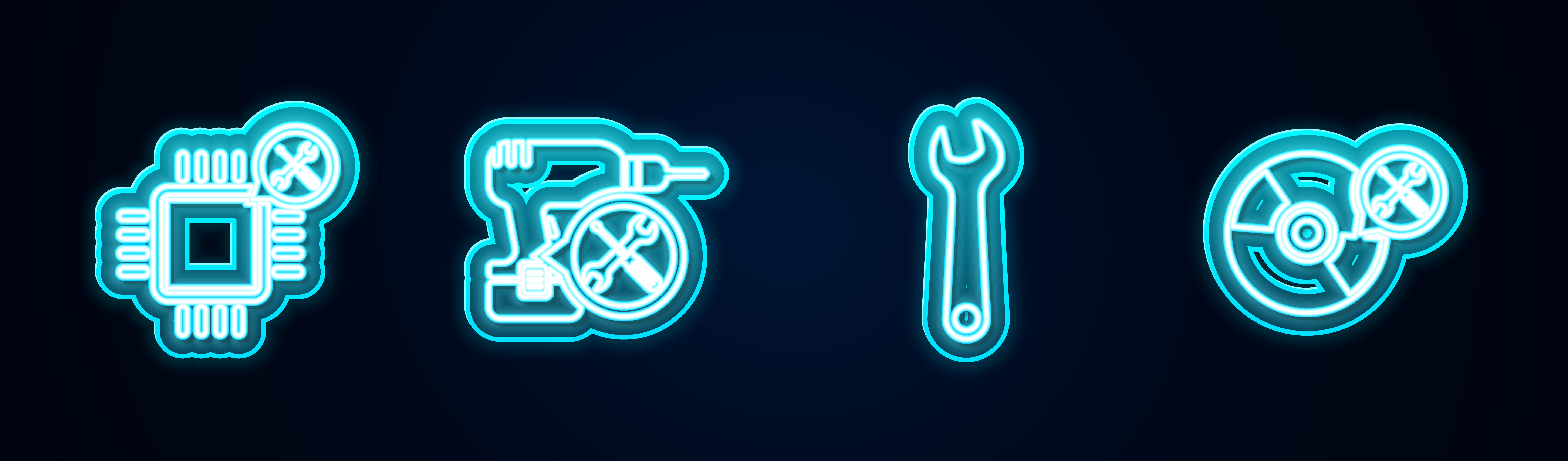 Four icons indicating repair and maintenance.