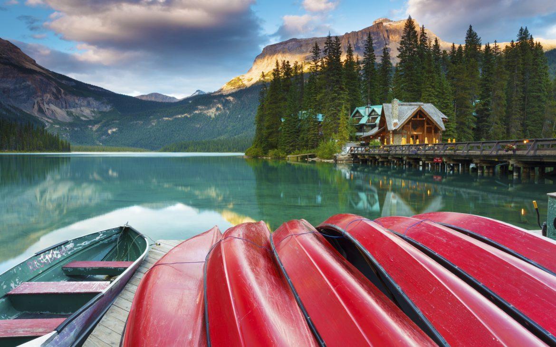Canoes docked at Emerald Lake in Yoho National Park, British Columbia