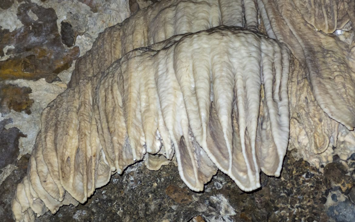 Limestone formations inside the Horne Lake Caves on Vancouver Island, British Columbia.