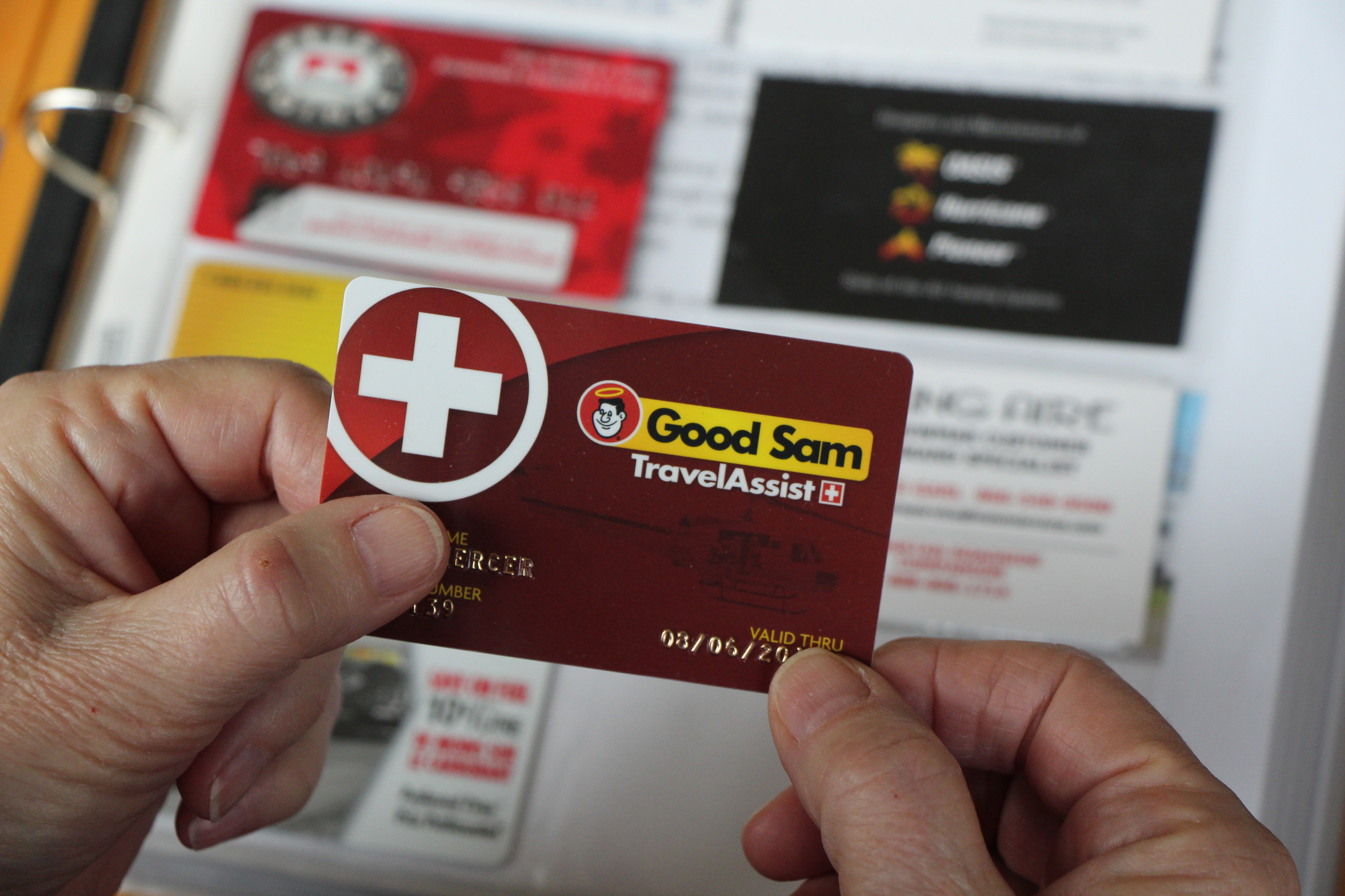 A plastic card with a Good Sam logo.