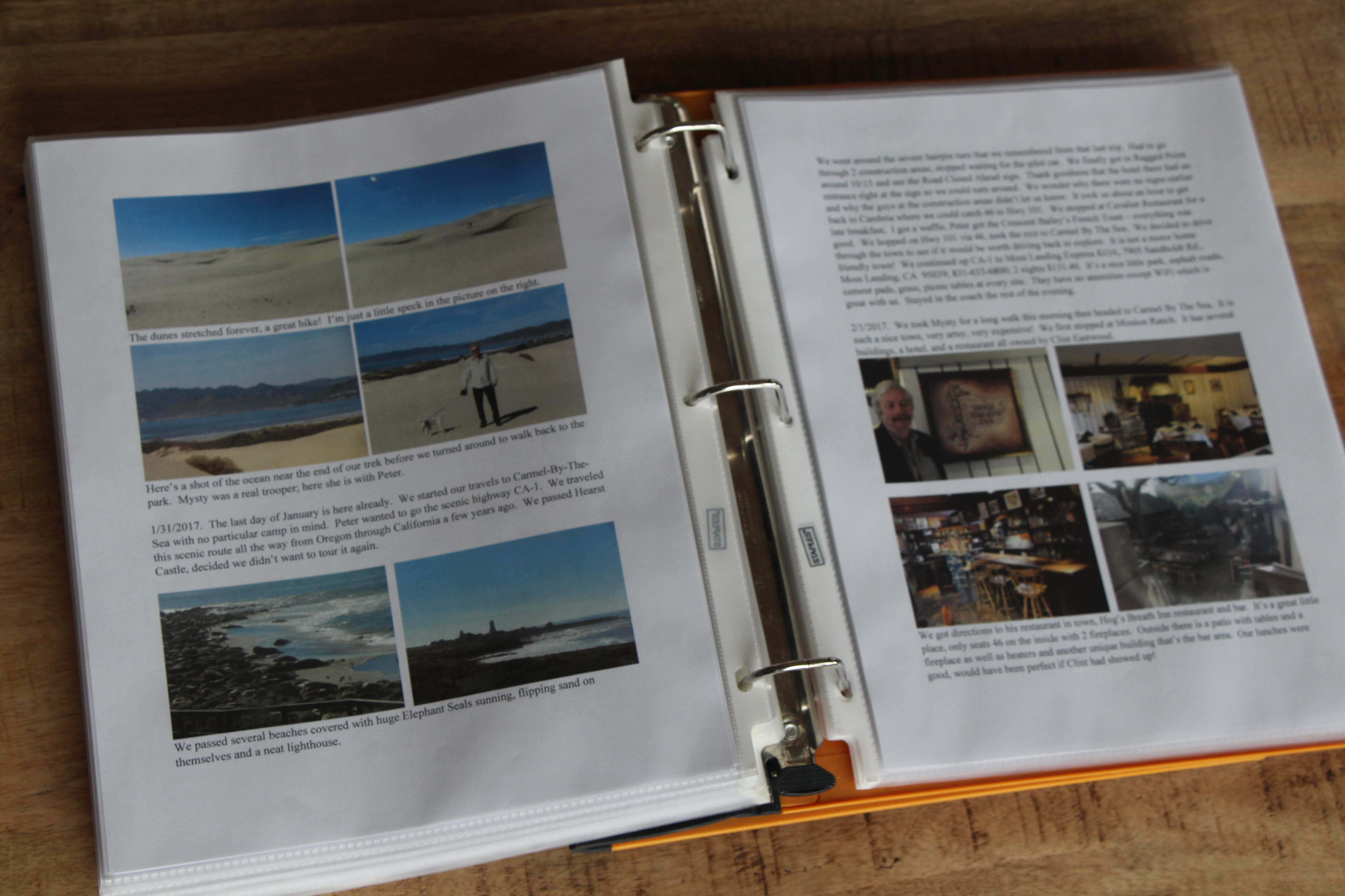 A log book with travel entries.