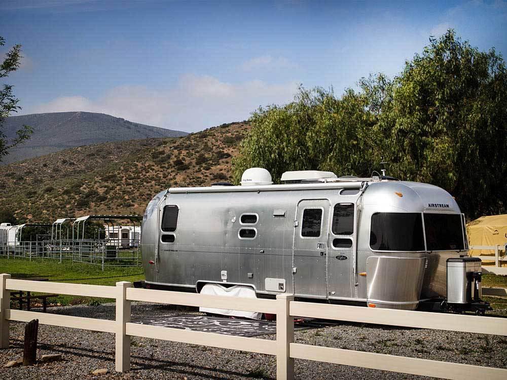 An Airstream trailer in a California campground.