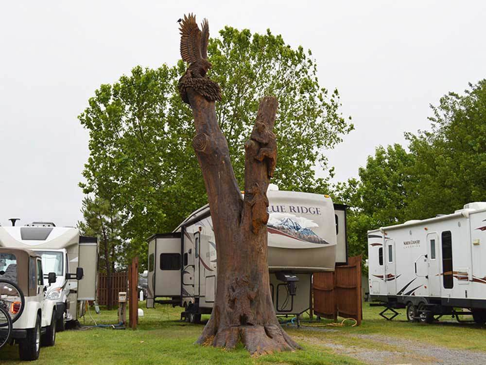 An ornately carved tree in front of a row of RVs.