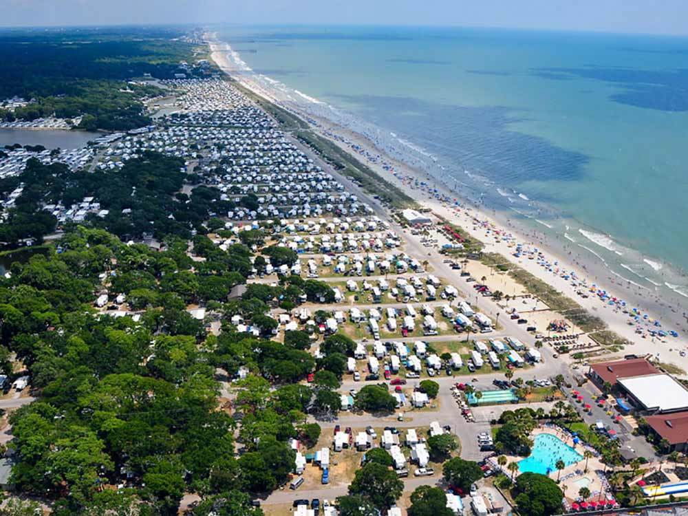 Aerial shot of RV parks on the coast