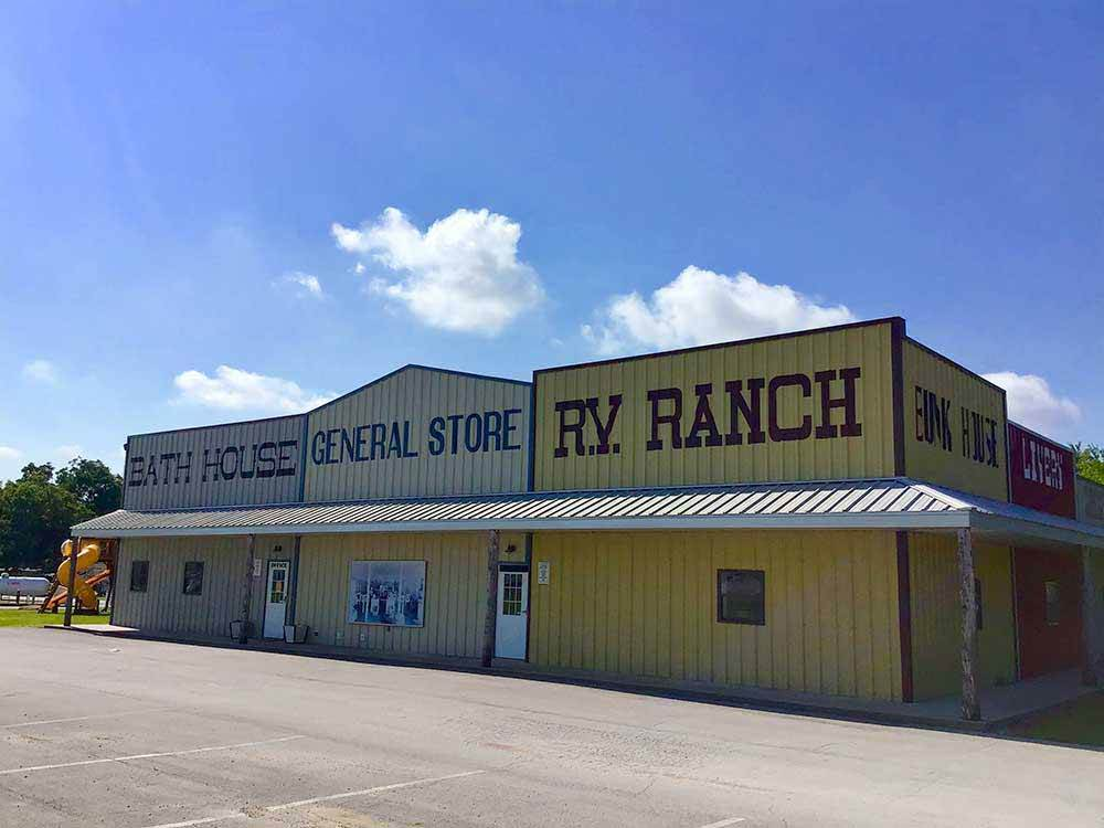 Corregated steel building with General Store and RV Ranch written on the side.