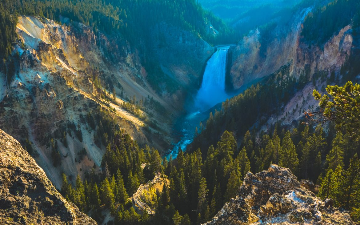 Picturesque Artist Point in the majestic Grand Canyon of the Yellowstone.