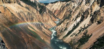 Creek through Yellowstone with rainbow