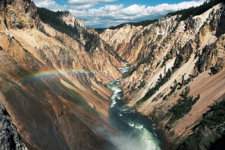Creek through Yellowstone with rainbow