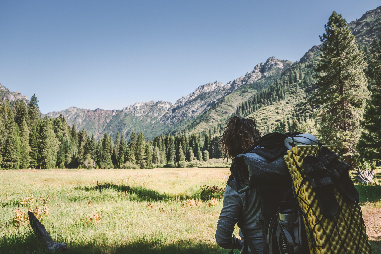Hiker at Trinity Alps, California