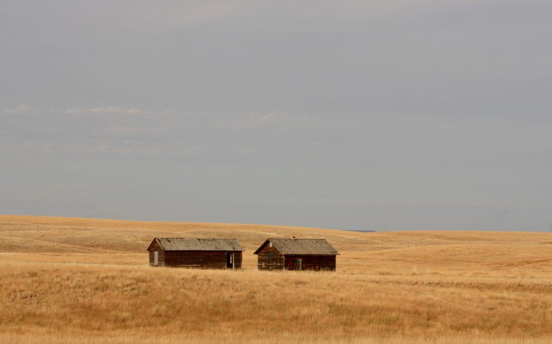 Two barns at Grasslands National Park, Canada
