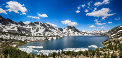 Snowy Duck Lake in Mammoth, in mid July.