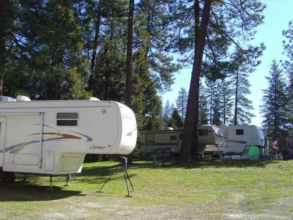 Fifth-wheel trailers on grassy sites.