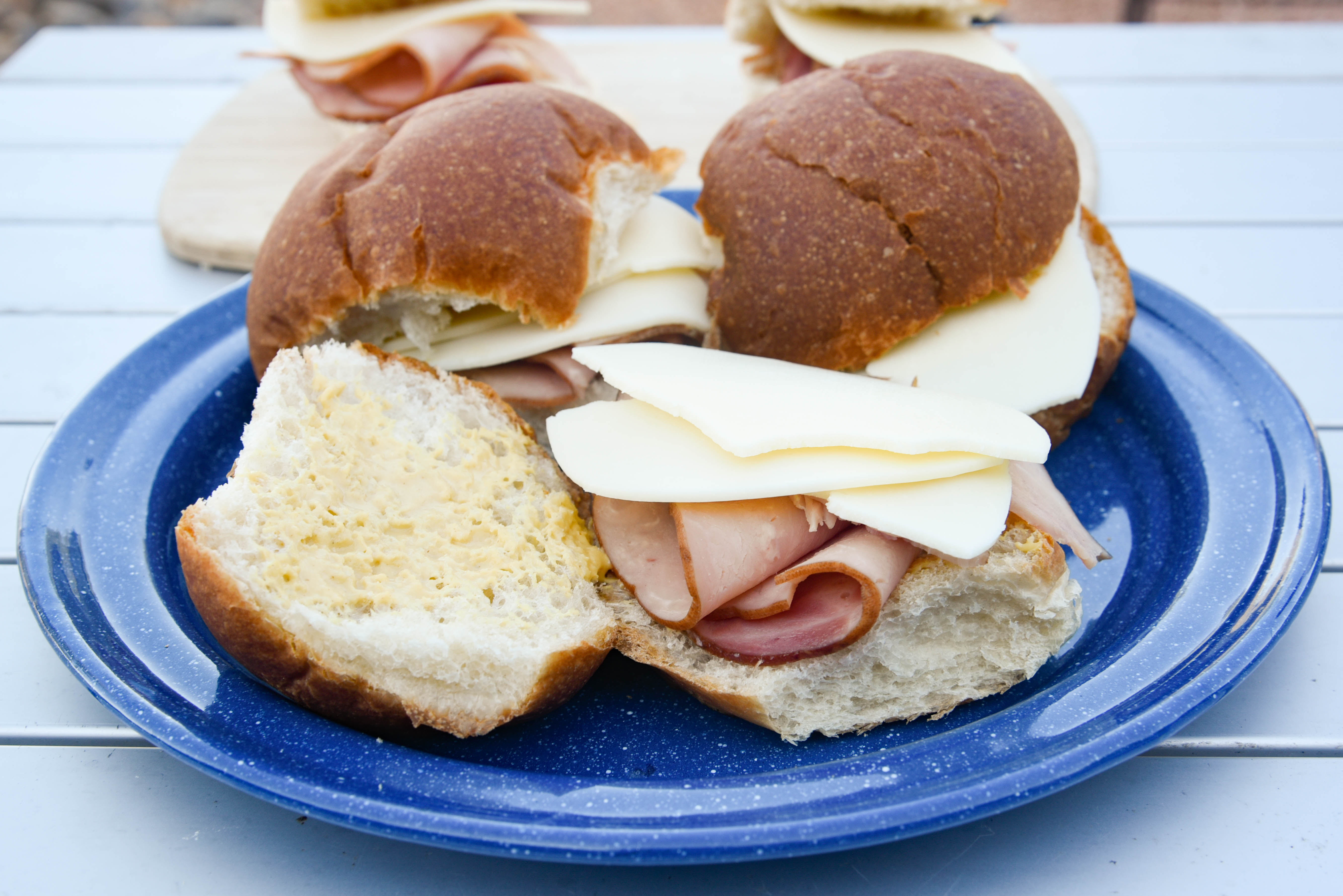 Rolls with ham and cheese added.