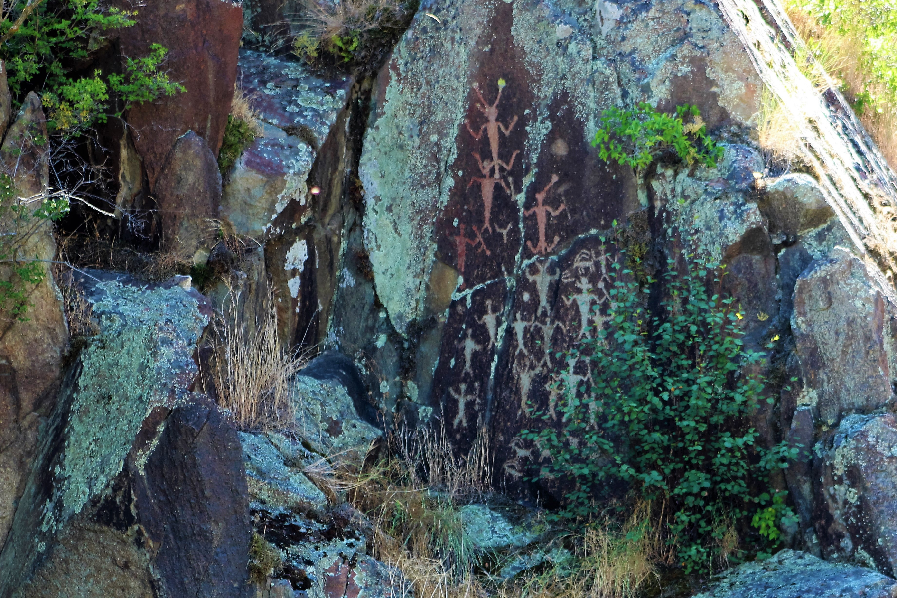 A petroglyph on a rock depicts several horned figures clustered together with arms raised.