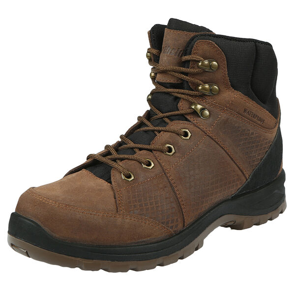 Brown leather hiking boot.