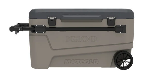 Grey and beige cooler with wheels.