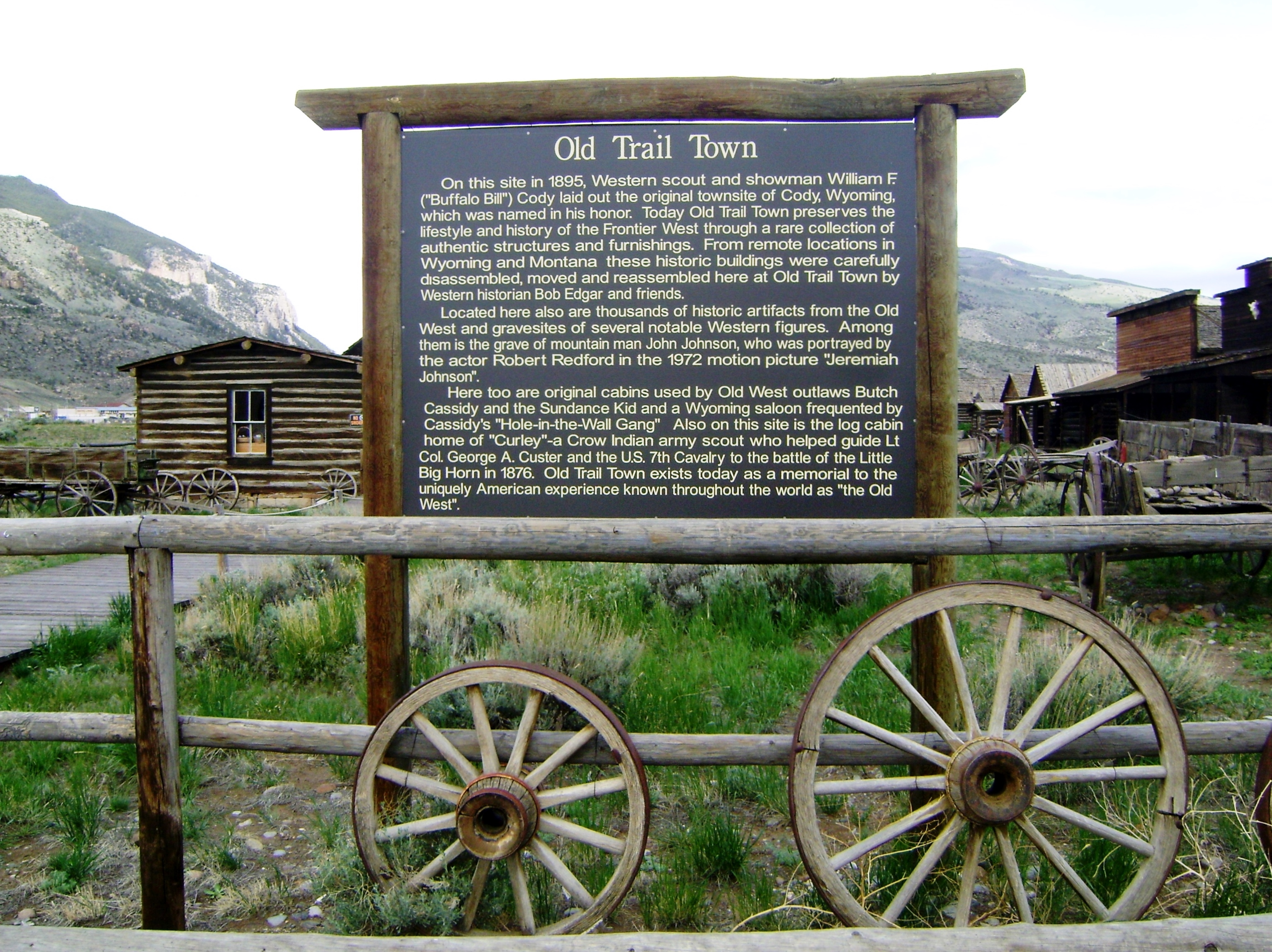 """A sign indicating the """"Old Trail Town."""""""