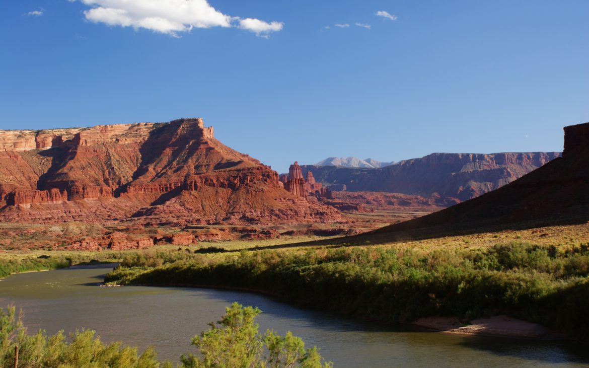 View of Fisher Towers and the Colorado River in Utah
