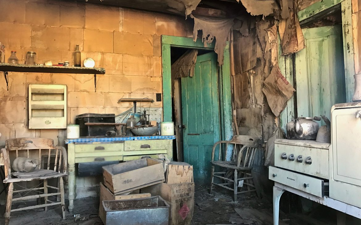 Building interior of ghost town Bodie, California