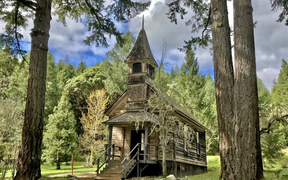 Old church at ghost town in Golden Oregon