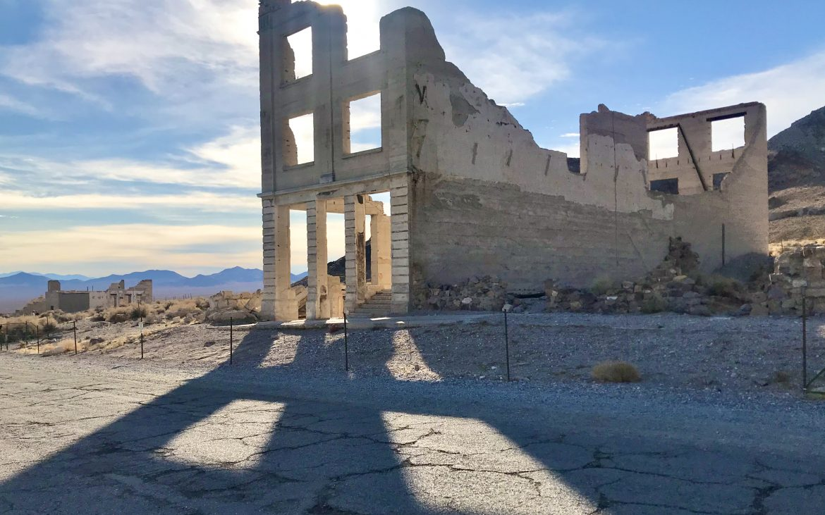 Rhyolite is an easily accessed ghost town outside of Beatty, Nevada.