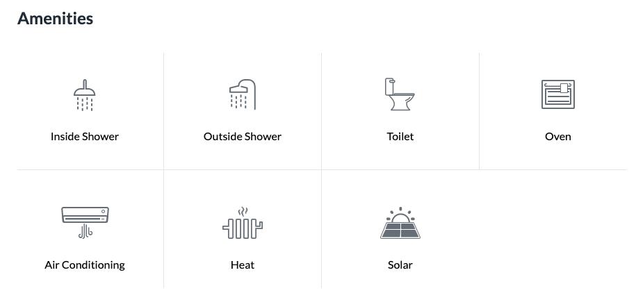 RV amenities listed on RV rental website