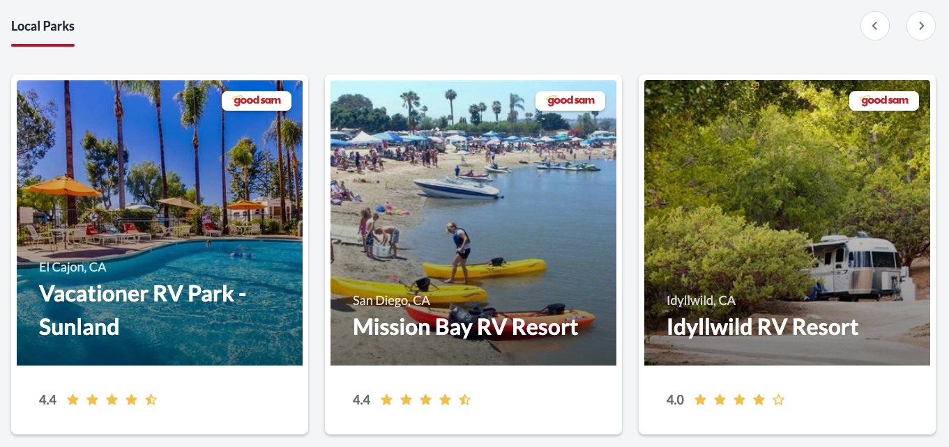 Listing of three San Diego RV parks and campgrounds listed on RV rental site.