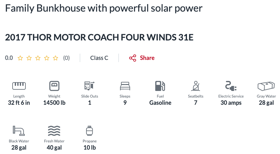 Family Bunkhouse with powerful solar power. RV camping amenities listed for Thor Motor Coach on RV Rental website.